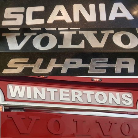 aluminium and stainless steel vehicle lettering pic 1
