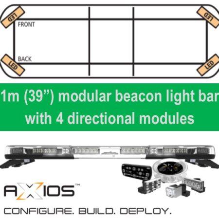 "Axios modular led beacon light bar 1m (39"") 4 directional modules"