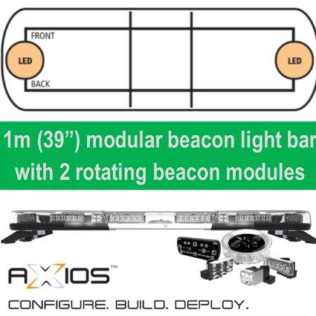 "Axios modular led beacon light bar 1m (39"") 2 rotating led modules"
